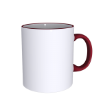 11 oz Rim Handle Maroon Mug