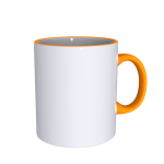 11 oz Rim Handle Yellow Mug